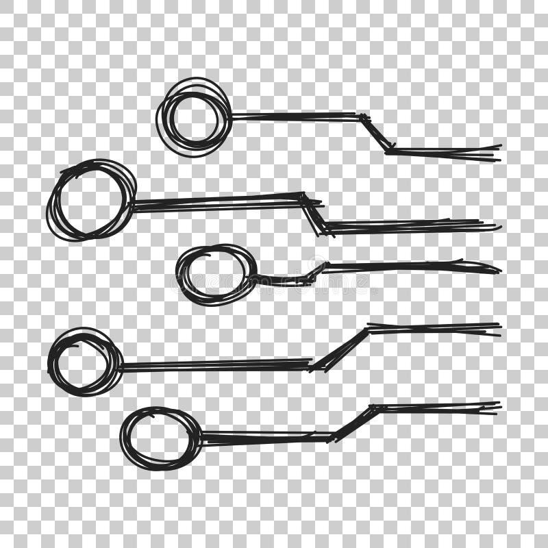 Icona disegnata a mano del circuito Schema s di tecnologia dello scetch di scarabocchio royalty illustrazione gratis