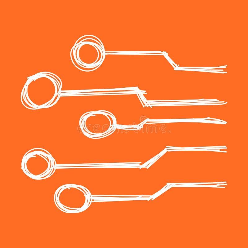 Icona disegnata a mano del circuito Schema s di tecnologia dello scetch di scarabocchio illustrazione vettoriale