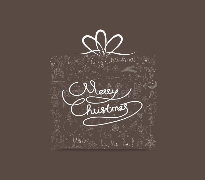 Icona disegnata a mano dell'ornamento del regalo di Natale Cartolina d'auguri illustrazione di stock