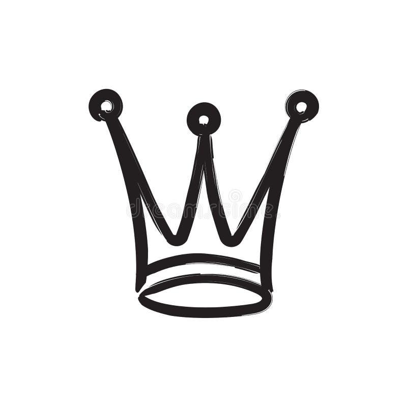 Icona disegnata a mano della corona illustrazione vettoriale