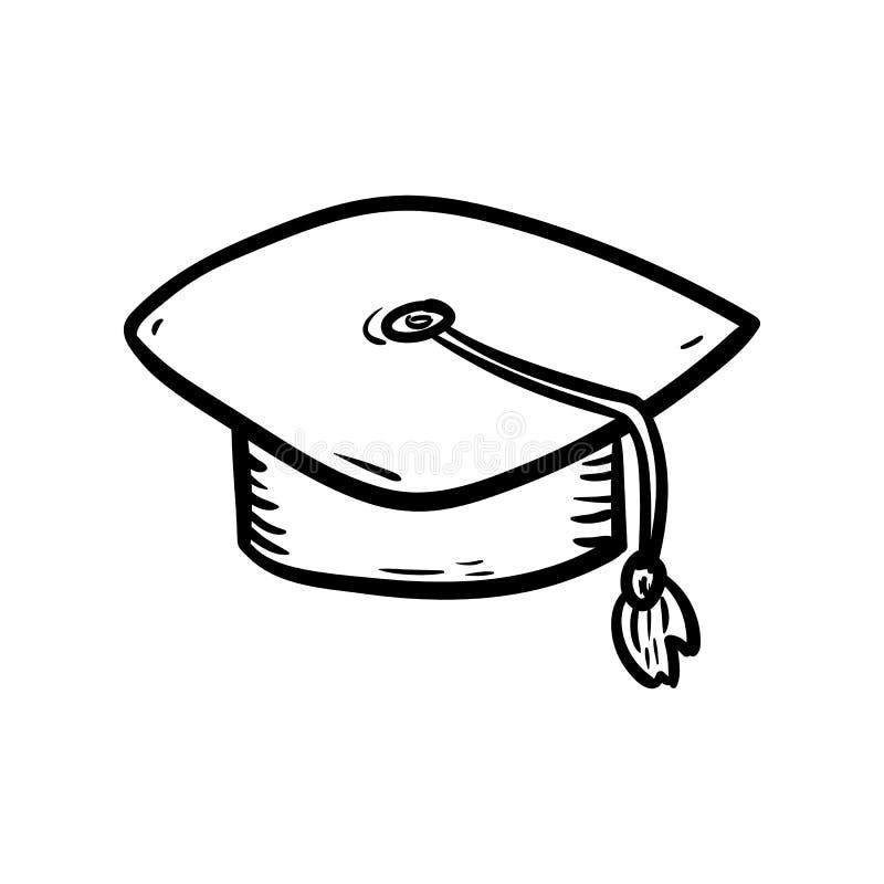 Icona disegnata a mano di scarabocchio del cappello Schizzo nero disegnato a mano simbolo del segno Elemento della decorazione Pr royalty illustrazione gratis