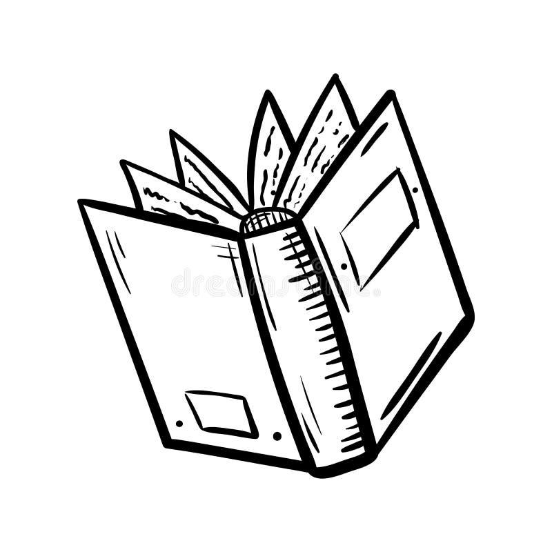 Icona disegnata a mano di scarabocchio del libro Schizzo nero disegnato a mano simbolo del segno Elemento della decorazione Prior illustrazione di stock