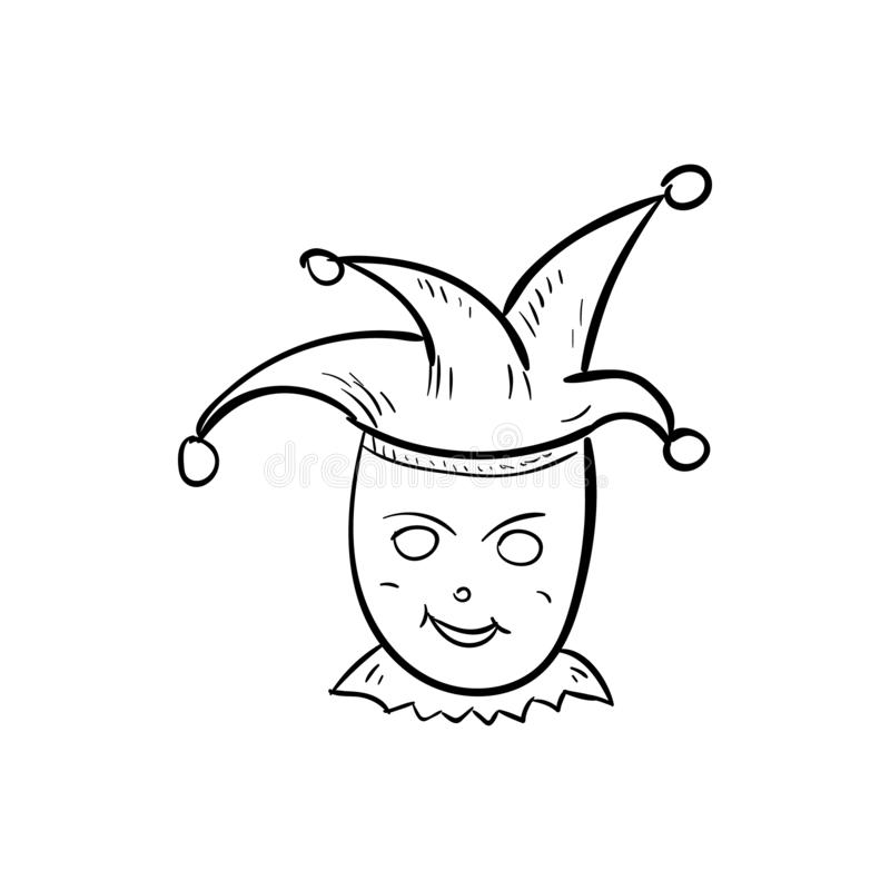 Icona disegnata a mano di scarabocchio del pagliaccio Schizzo nero disegnato a mano Simbolo del fumetto del segno Elemento della  illustrazione vettoriale