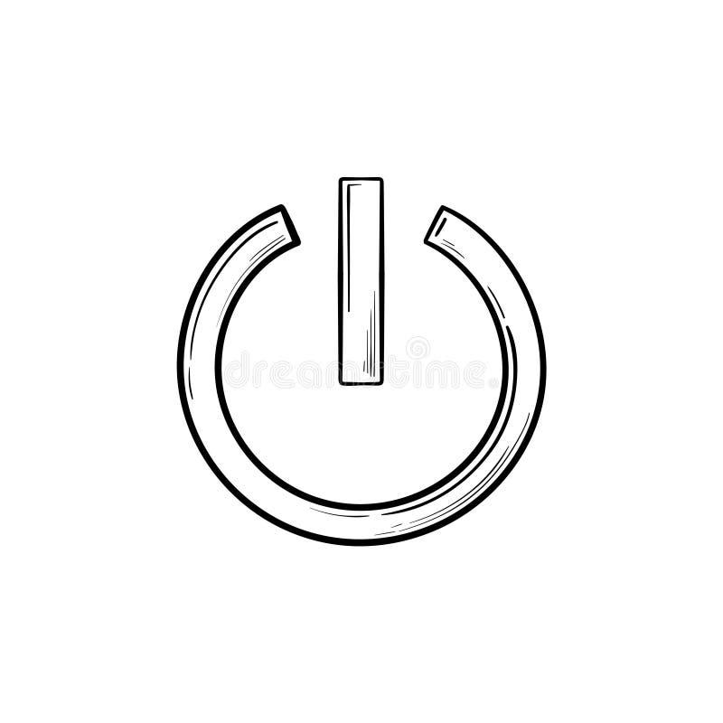 Icona disegnata a mano di scarabocchio del profilo del bottone di potere illustrazione di stock