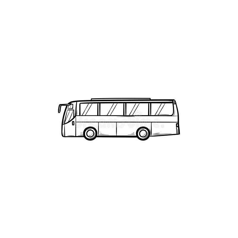 Icona disegnata a mano di scarabocchio del profilo del bus illustrazione di stock