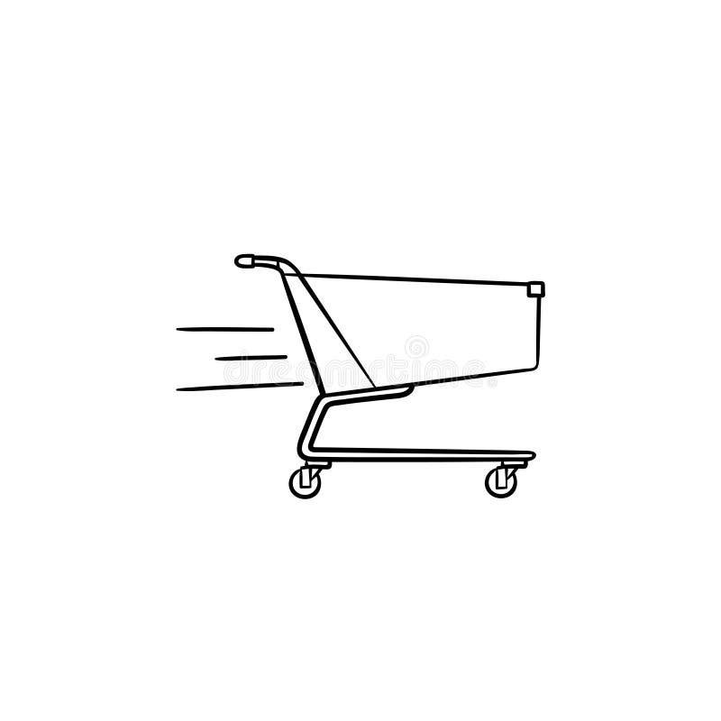 Icona disegnata a mano di scarabocchio del profilo del carrello veloce di consegna illustrazione di stock