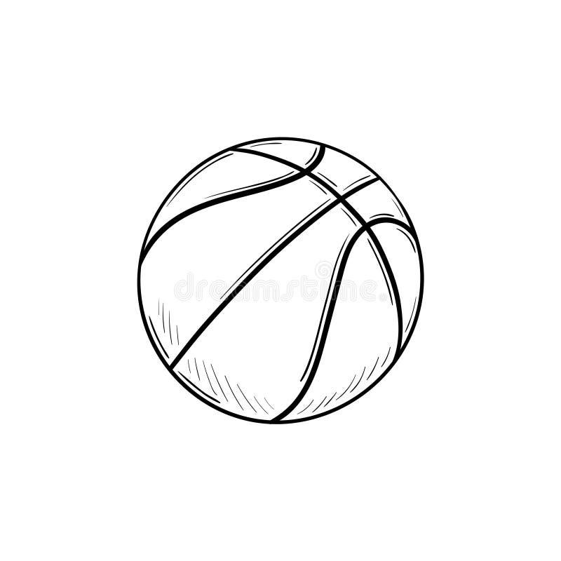 Icona disegnata a mano di scarabocchio del profilo della palla di pallacanestro illustrazione di stock