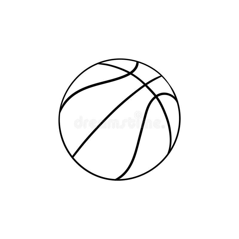 Icona disegnata a mano di scarabocchio del profilo della palla di pallacanestro illustrazione vettoriale