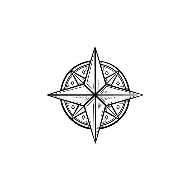 Icona disegnata a mano di scarabocchio del profilo della rosa dei venti di bussola royalty illustrazione gratis