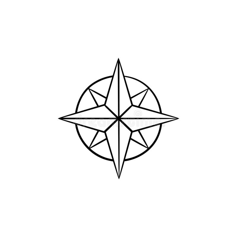 Icona disegnata a mano di scarabocchio del profilo della rosa dei venti di bussola illustrazione vettoriale