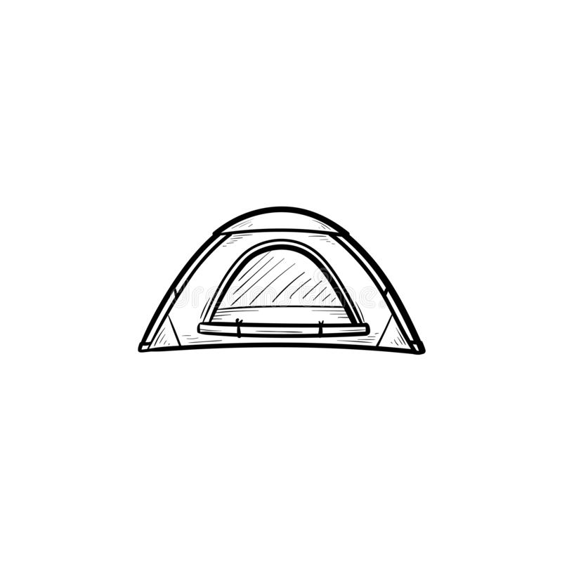 Icona disegnata a mano di scarabocchio del profilo della tenda di campeggio illustrazione di stock