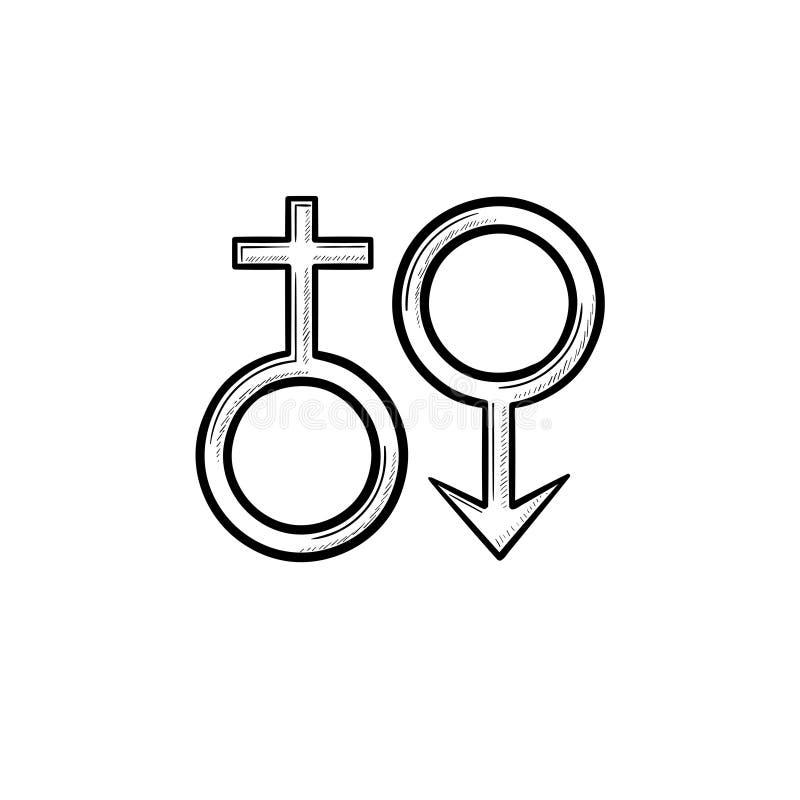 Icona disegnata a mano di scarabocchio del profilo di simboli maschii femminili del genger illustrazione di stock