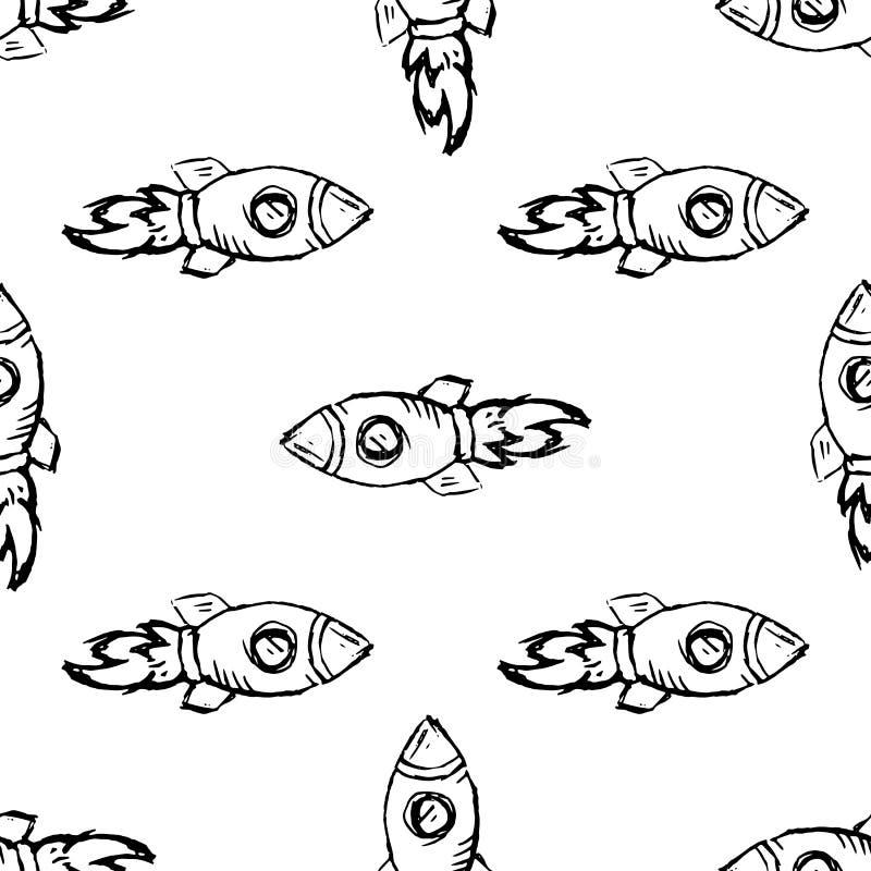 Icona disegnata a mano di scarabocchio del razzo del modello senza cuciture Schizzo nero disegnato a mano simbolo del segno Eleme royalty illustrazione gratis