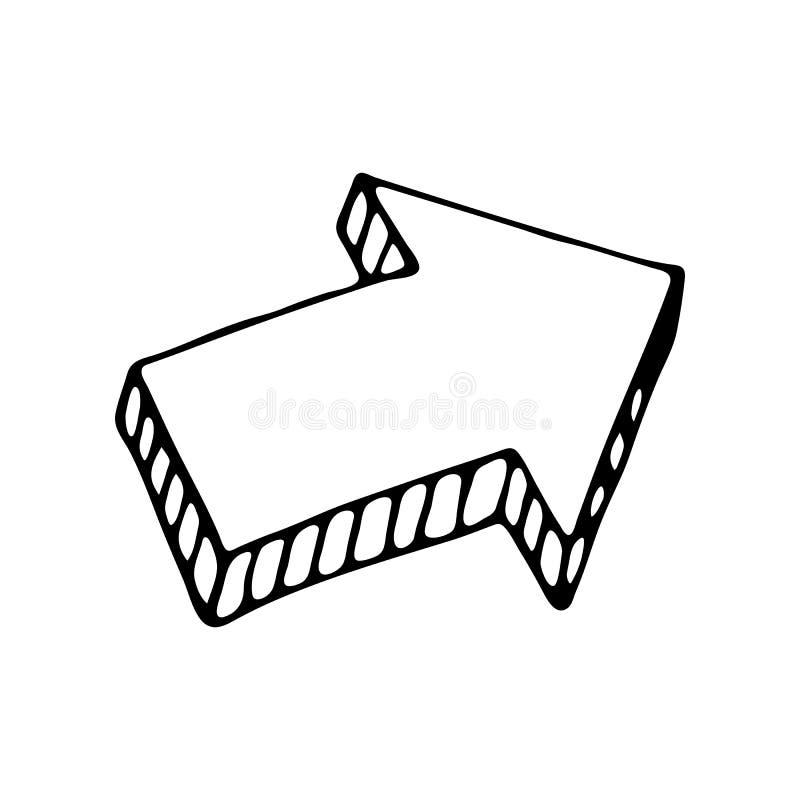 Icona disegnata a mano di scarabocchio della freccia 3D Schizzo nero disegnato a mano Segno S illustrazione vettoriale