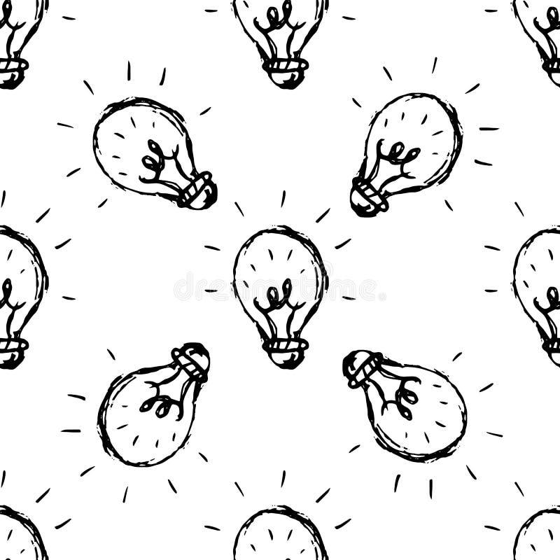 Icona disegnata a mano di scarabocchio della lampada di idea del modello senza cuciture Schizzo nero disegnato a mano simbolo del illustrazione di stock