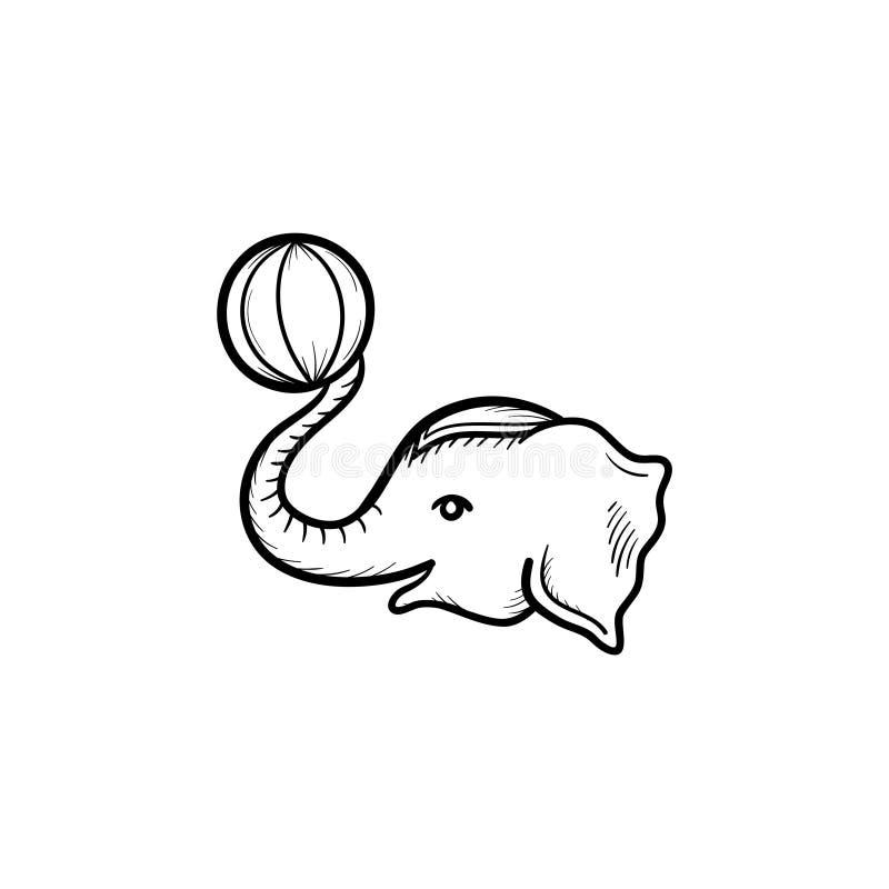 Icona disegnata a mano di schizzo dell'elefante del circo illustrazione di stock