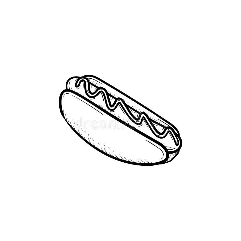Icona disegnata a mano di schizzo dell'hot dog royalty illustrazione gratis