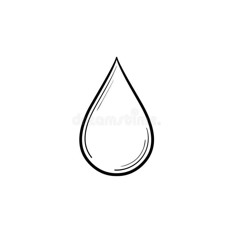 Icona disegnata a mano di schizzo della goccia di acqua illustrazione di stock