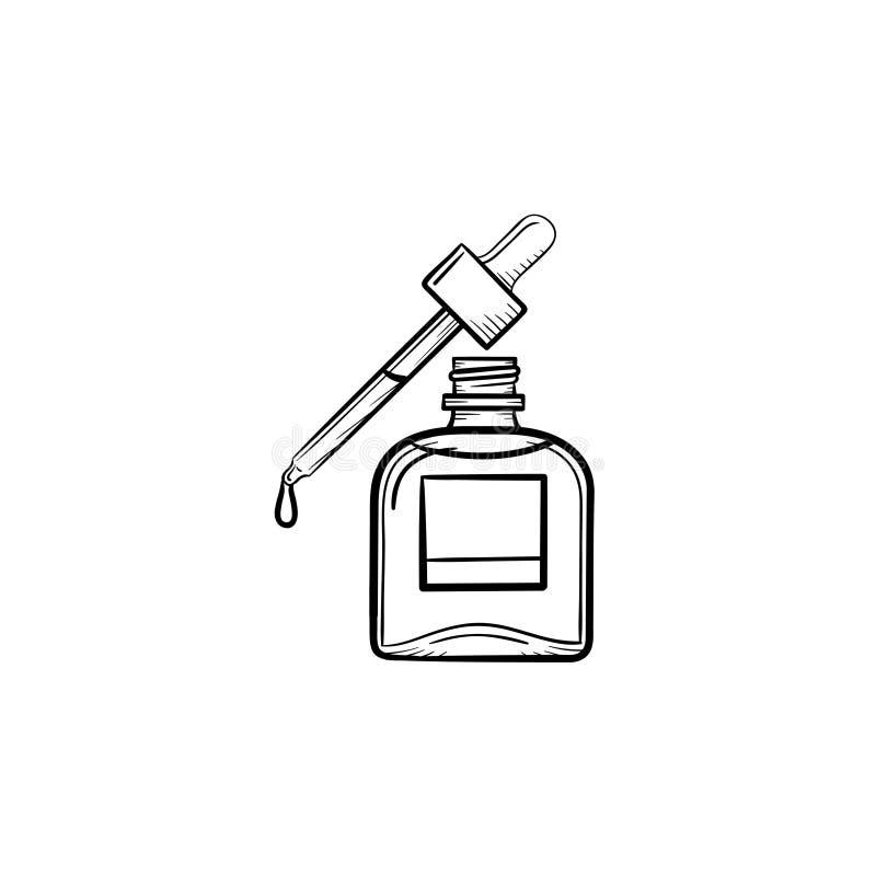 Icona disegnata a mano di schizzo della pipetta e del petrolio essenziale illustrazione di stock