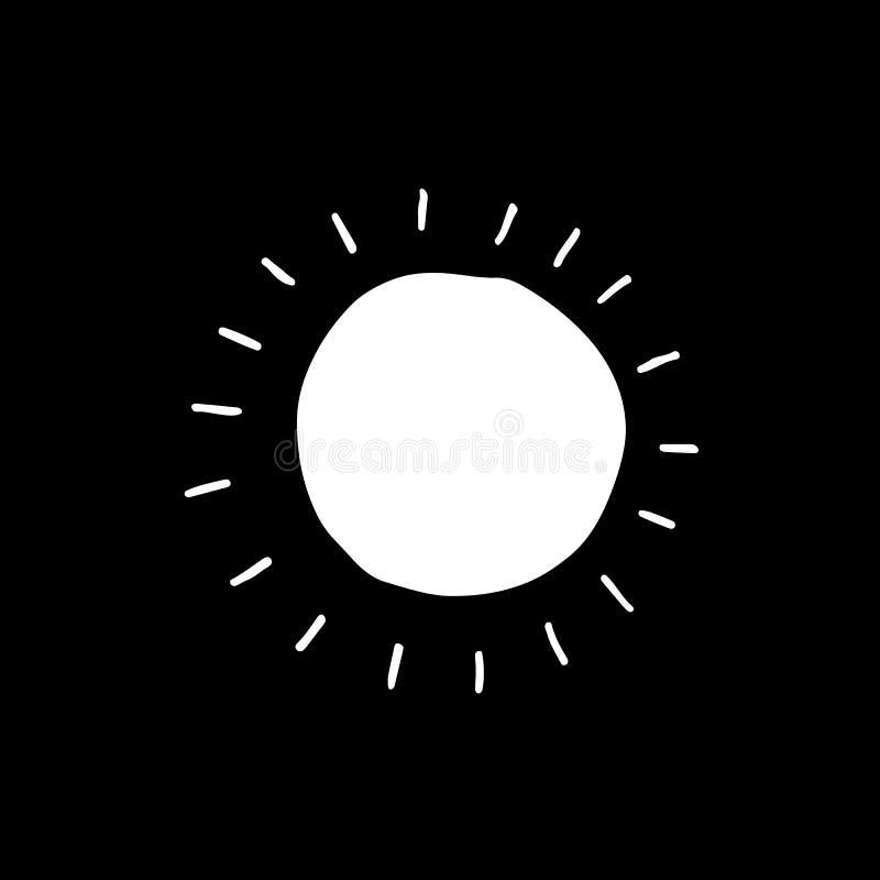 Icona disegnata a mano di vettore del sole illustrazione di stock