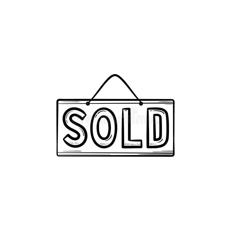 Icona disegnata a mano venduta di scarabocchio del profilo del segno illustrazione di stock