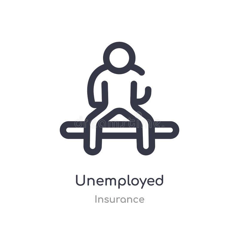icona disoccupata del profilo linea isolata illustrazione di vettore dalla raccolta di assicurazione icona disoccupata del colpo  illustrazione vettoriale
