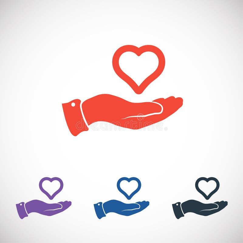 Icona disponibila del cuore, illustrazione di vettore piano immagine stock