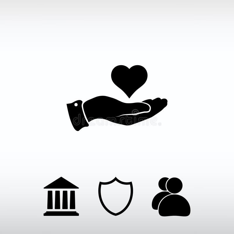Icona disponibila del cuore, illustrazione di vettore Stile piano di progettazione immagine stock libera da diritti