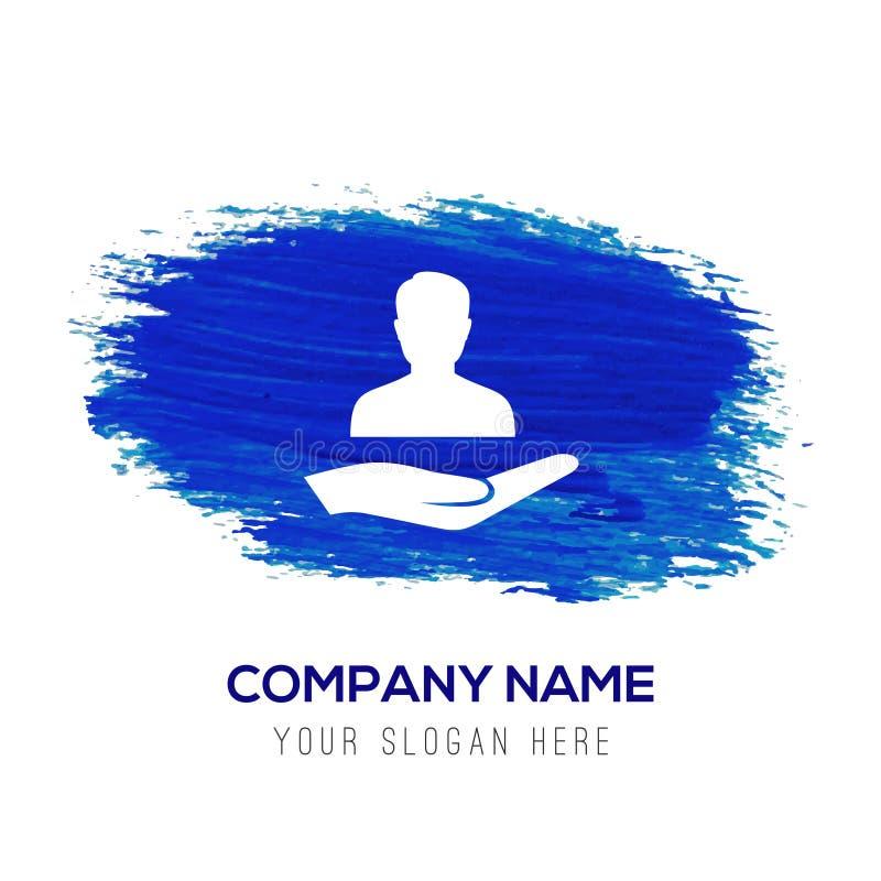 Icona disponibila dell'utente - fondo blu dell'acquerello illustrazione vettoriale