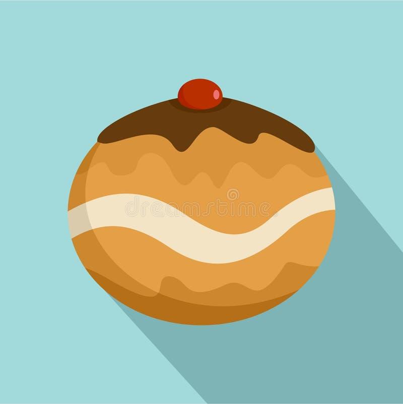 Icona dolce del forno di giudaismo, stile piano illustrazione di stock