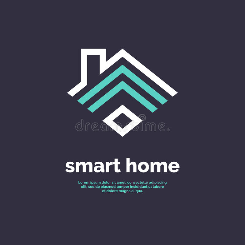 Icona domestica astuta Segno Wi-Fi dell'emblema illustrazione vettoriale