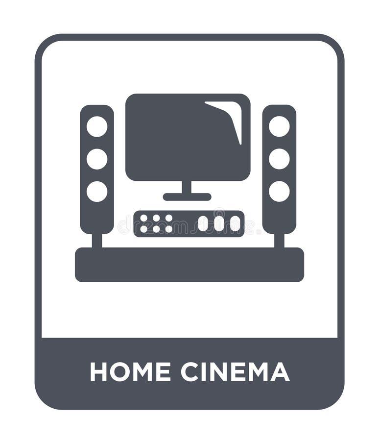 icona domestica del cinema nello stile d'avanguardia di progettazione icona domestica del cinema isolata su fondo bianco icona do illustrazione di stock