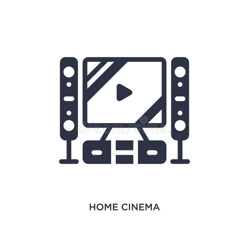 icona domestica del cinema su fondo bianco Illustrazione semplice dell'elemento dal concetto del cinema illustrazione vettoriale