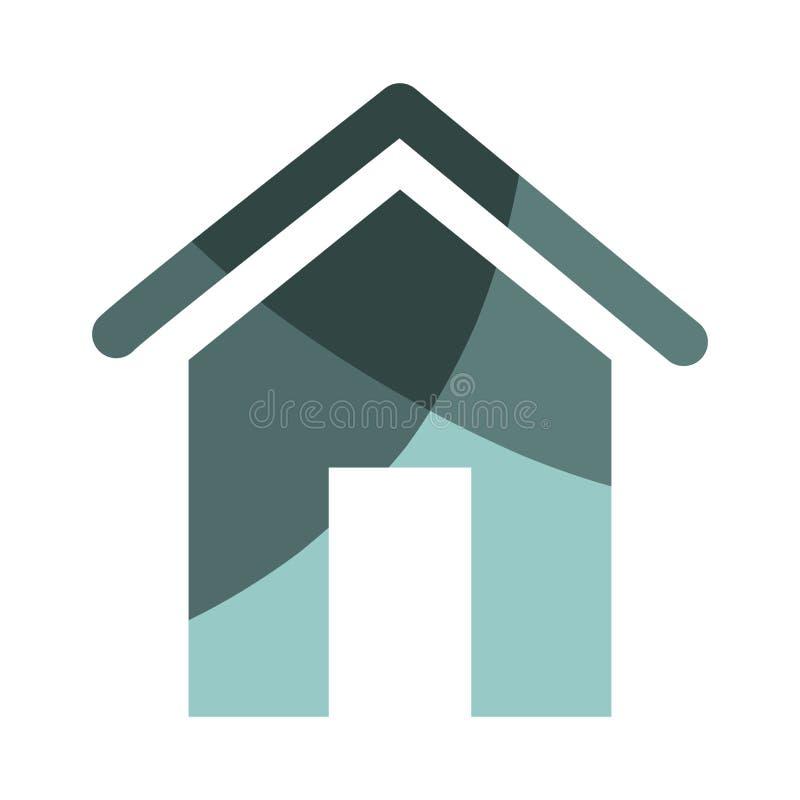 Icona domestica della siluetta della casa illustrazione vettoriale