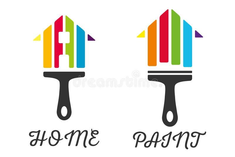 Icona domestica di logo del pennello della decorazione fotografie stock libere da diritti