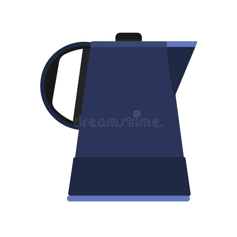 Icona domestica di vettore del bollitore dell'illustrazione elettrica degli apparecchi Bianco isolato acqua della teiera del punt illustrazione di stock