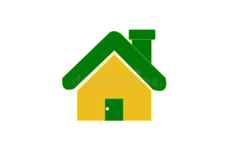 Icona domestica gialla su fondo bianco immagine stock