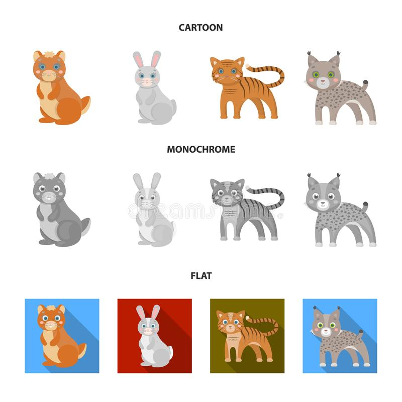Icona domestica, selvaggia ed altro degli animali, di web nel fumetto, stile piano e monocromatico Zoo, giocattoli, bambini, icon illustrazione di stock