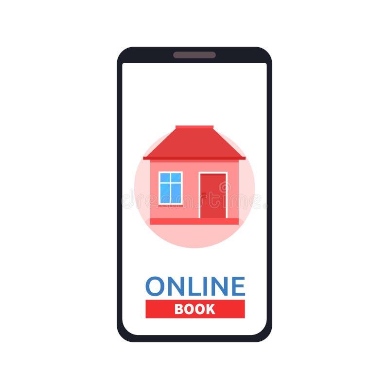 Icona domestica sullo schermo dello smartphone Appartamenti di affitto, app delle case del libro Concetto moderno per l'insegna d illustrazione vettoriale