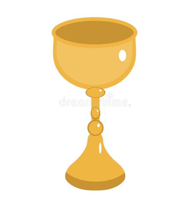 Icona dorata del calice Tazza dell'oro, stile piano Calice del vino su fondo bianco Logo del calice Illustrazione di vettore illustrazione di stock