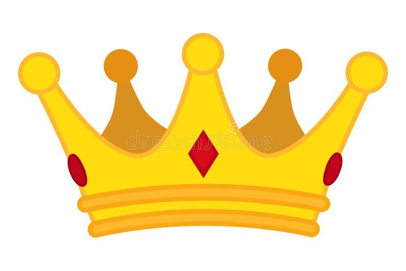 Icona dorata del fumetto della corona Gioielli di vettore per il monarca immagine stock libera da diritti