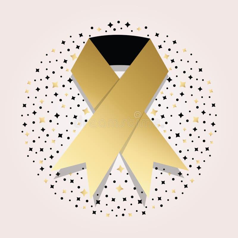 Icona dorata del nastro di consapevolezza del cancro sul fondo del motivo a stelle illustrazione di stock