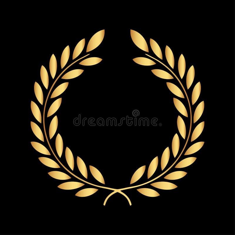 Icona dorata dell'alloro isolata sui precedenti neri Indicatore luminoso di vettore art Progettazione nera e scura Perfezioni per illustrazione di stock