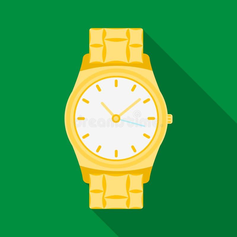 Icona dorata dell'orologio nello stile piano isolata su fondo bianco Illustrazione di vettore delle azione di simbolo degli acces illustrazione di stock
