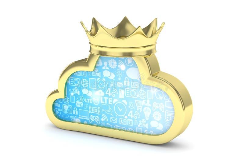 Icona dorata della nuvola rappresentazione 3d illustrazione vettoriale