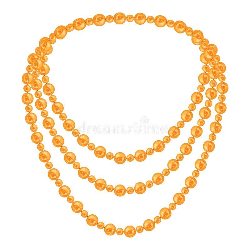Icona dorata della perla della collana, stile del fumetto royalty illustrazione gratis