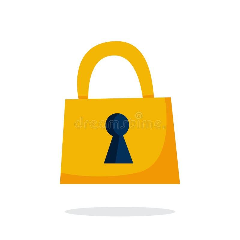 Icona dorata della serratura Idea di segretezza, sicurezza illustrazione vettoriale