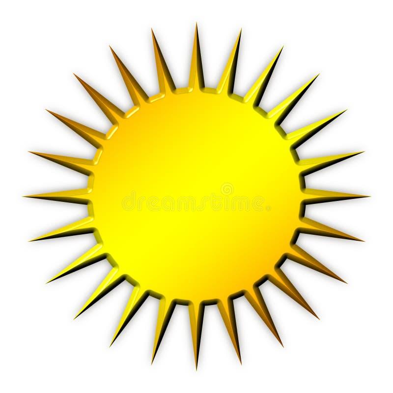Icona dorata di Sun illustrazione di stock