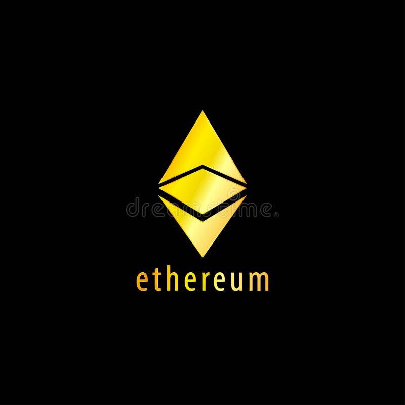 Icona dorata di vettore di simbolo di Ethereum illustrazione di stock