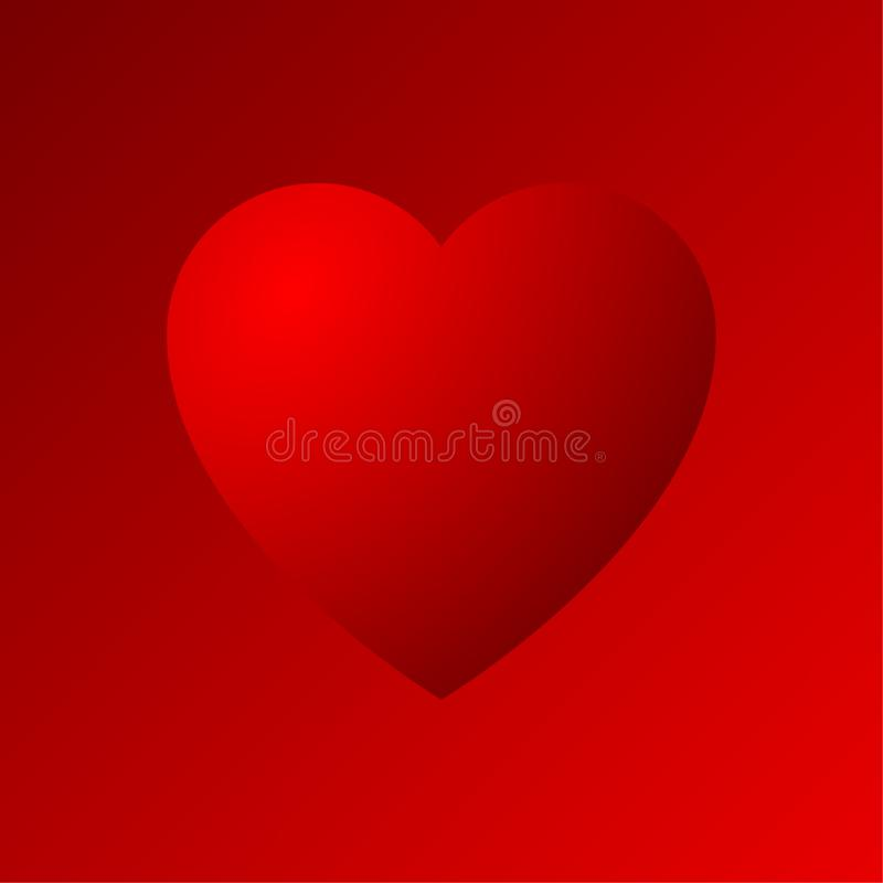 Icona dradient del cuore rosso illustrazione vettoriale